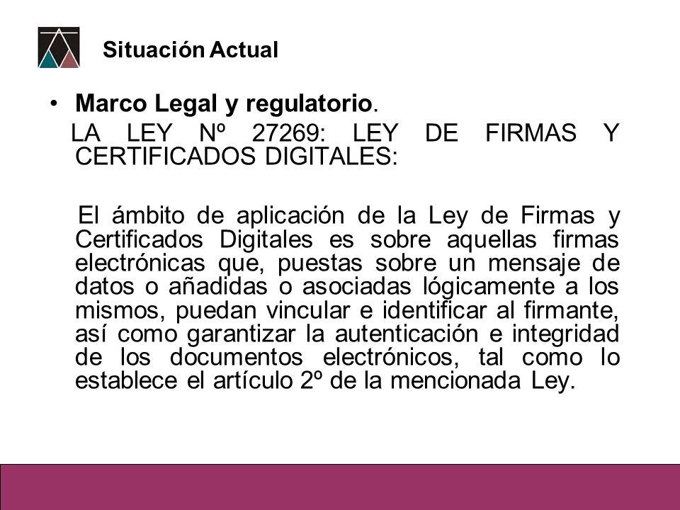 Marco Legal y regulatorio. LA LEY Nº 27269: LEY DE FIRMAS Y CERTIFICADOS DIGITALES: El ámbito de aplicación de la Ley de Firmas y Certificados Digital