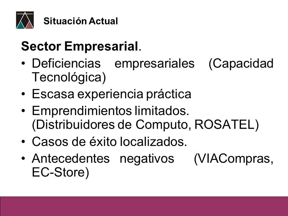 Sector Empresarial. Deficiencias empresariales (Capacidad Tecnológica) Escasa experiencia práctica Emprendimientos limitados. (Distribuidores de Compu