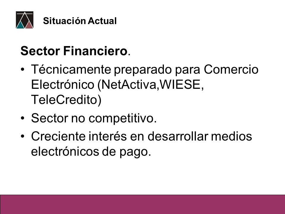 Sector Financiero. Técnicamente preparado para Comercio Electrónico (NetActiva,WIESE, TeleCredito) Sector no competitivo. Creciente interés en desarro