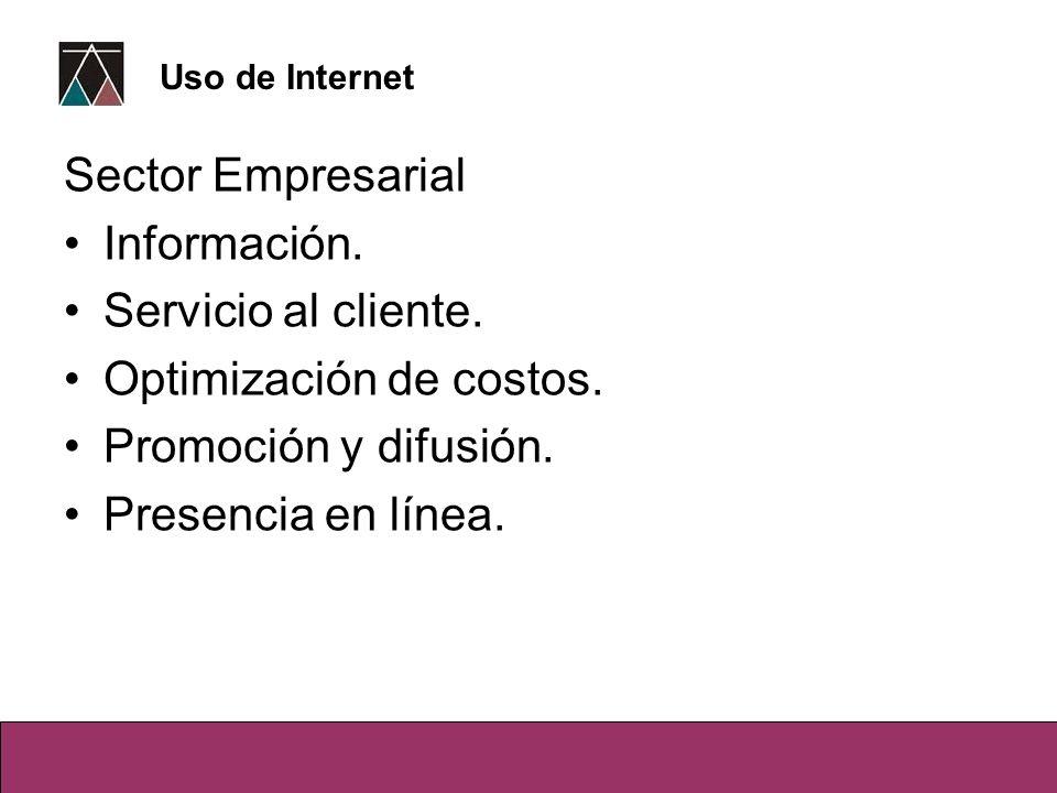 Sector Empresarial Información. Servicio al cliente. Optimización de costos. Promoción y difusión. Presencia en línea. Uso de Internet