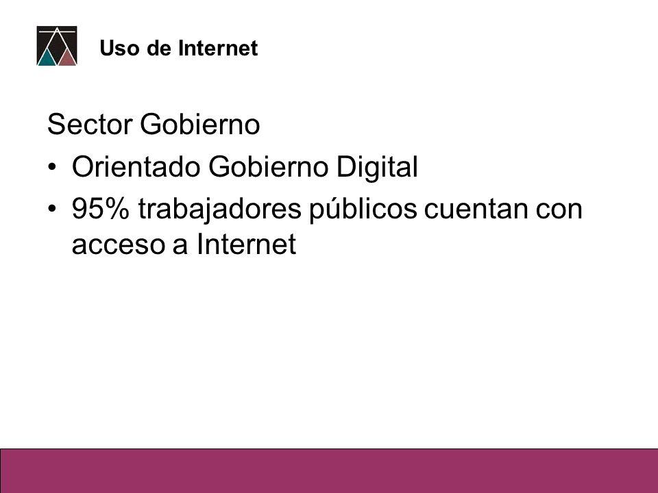 Sector Gobierno Orientado Gobierno Digital 95% trabajadores públicos cuentan con acceso a Internet Uso de Internet