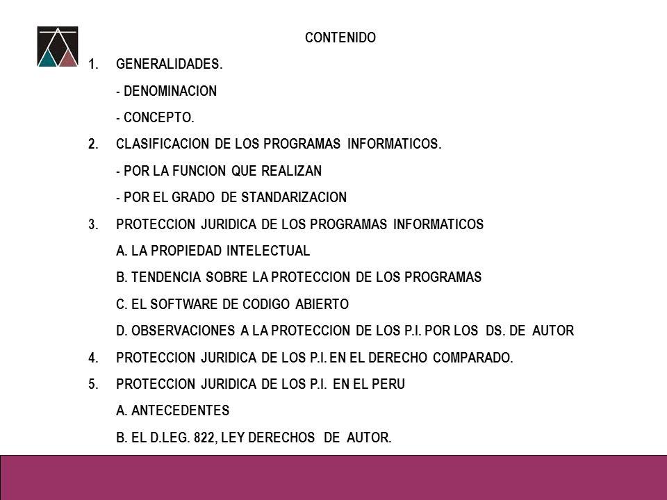 CONTENIDO 1.GENERALIDADES.- DENOMINACION - CONCEPTO.