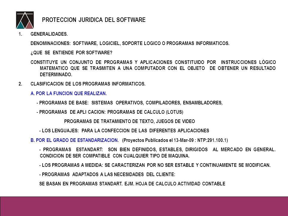 1.GENERALIDADES.DENOMINACIONES: SOFTWARE, LOGICIEL, SOPORTE LOGICO O PROGRAMAS INFORMATICOS.
