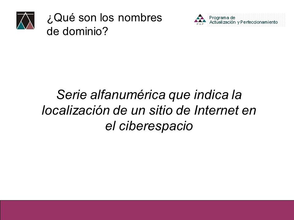 ¿Qué son los nombres de dominio? Serie alfanumérica que indica la localización de un sitio de Internet en el ciberespacio