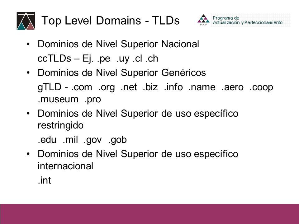 Top Level Domains - TLDs Dominios de Nivel Superior Nacional ccTLDs – Ej..pe.uy.cl.ch Dominios de Nivel Superior Genéricos gTLD -.com.org.net.biz.info.name.aero.coop.museum.pro Dominios de Nivel Superior de uso específico restringido.edu.mil.gov.gob Dominios de Nivel Superior de uso específico internacional.int
