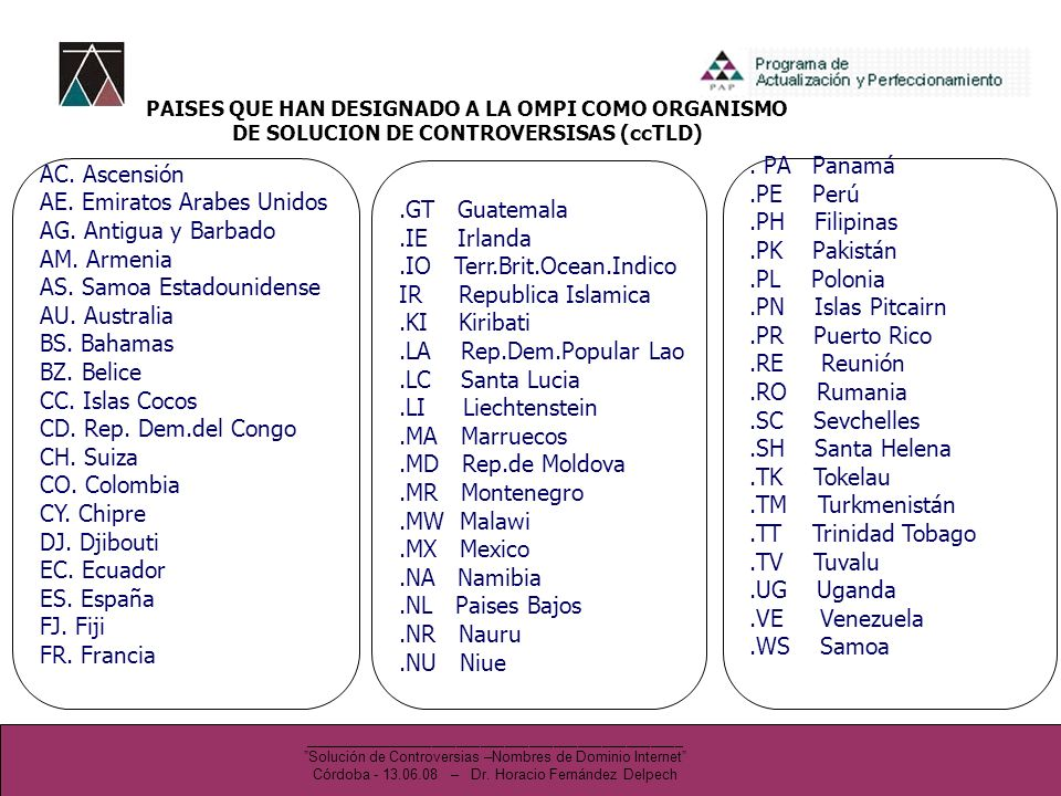 AC. Ascensión AE. Emiratos Arabes Unidos AG. Antigua y Barbado AM.