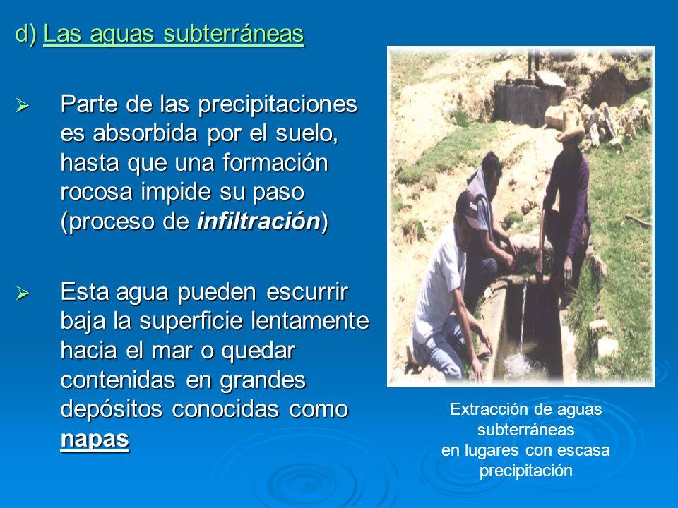 d) Las aguas subterráneas Parte de las precipitaciones es absorbida por el suelo, hasta que una formación rocosa impide su paso (proceso de infiltraci