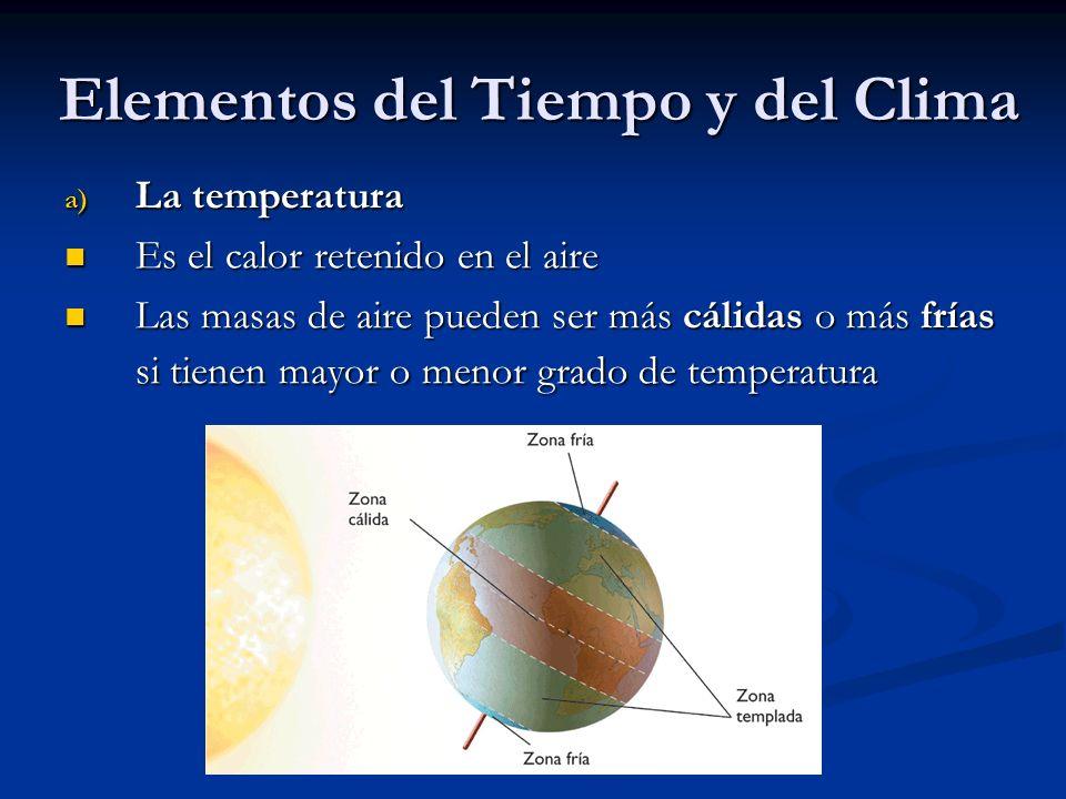 Elementos del Tiempo y del Clima a) La temperatura Es el calor retenido en el aire Es el calor retenido en el aire Las masas de aire pueden ser más cá