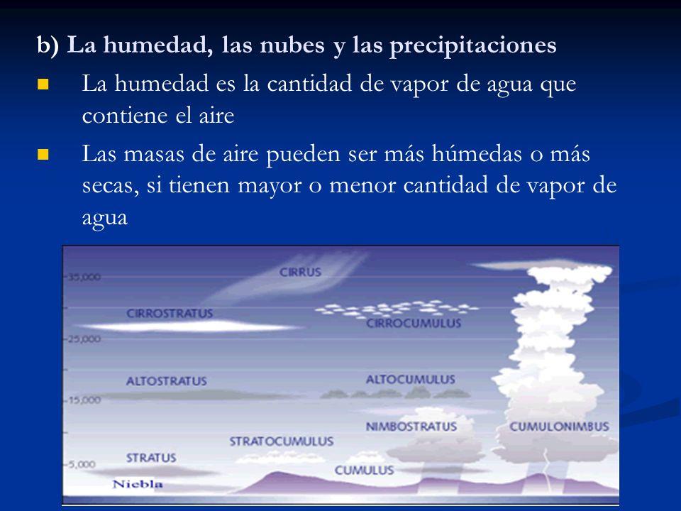 b) La humedad, las nubes y las precipitaciones La humedad es la cantidad de vapor de agua que contiene el aire Las masas de aire pueden ser más húmeda