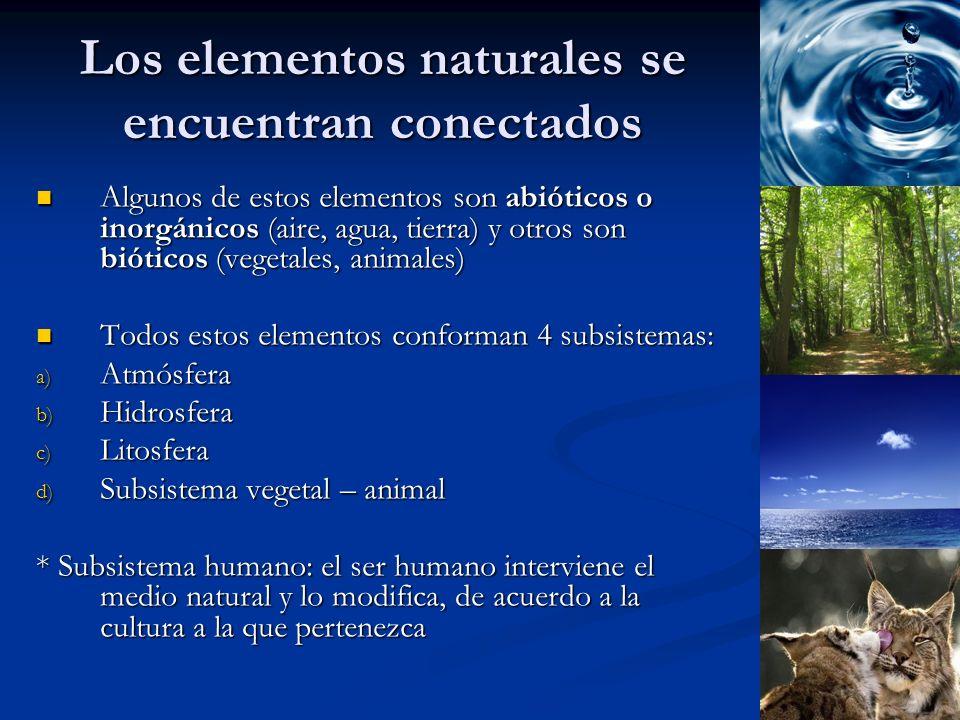 Los elementos naturales se encuentran conectados Algunos de estos elementos son abióticos o inorgánicos (aire, agua, tierra) y otros son bióticos (veg