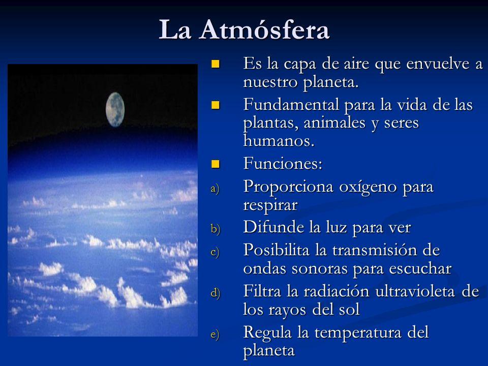 Tropósfera: Capa más cercana a la superficie terrestre Concentra el 80% del aire atmosférico Contiene una serie de gases importantes para la vida, tales como: -Nitrógeno (N) -Oxígeno (O) -Dióxido de carbono (CO2) -Vapor de agua