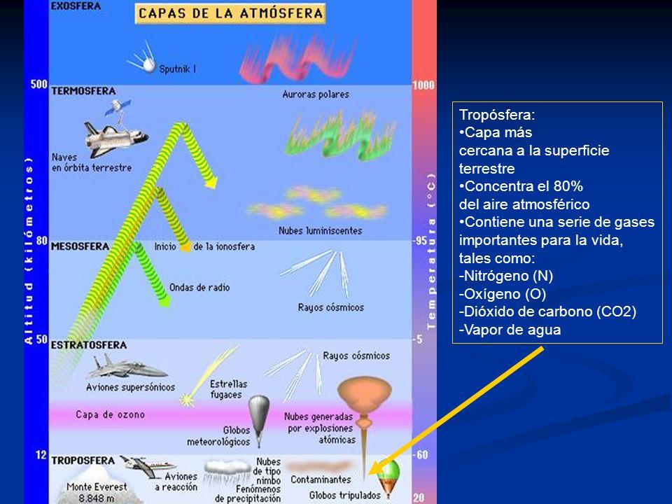 Tropósfera: Capa más cercana a la superficie terrestre Concentra el 80% del aire atmosférico Contiene una serie de gases importantes para la vida, tal
