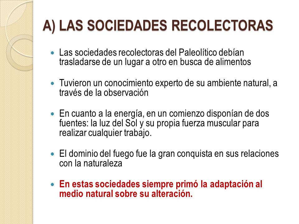 A) LAS SOCIEDADES RECOLECTORAS Las sociedades recolectoras del Paleolítico debían trasladarse de un lugar a otro en busca de alimentos Tuvieron un con