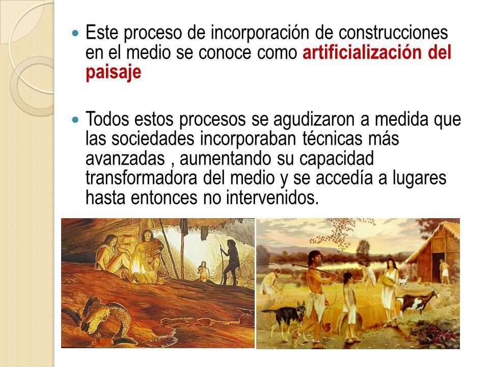 Este proceso de incorporación de construcciones en el medio se conoce como artificialización del paisaje Todos estos procesos se agudizaron a medida q