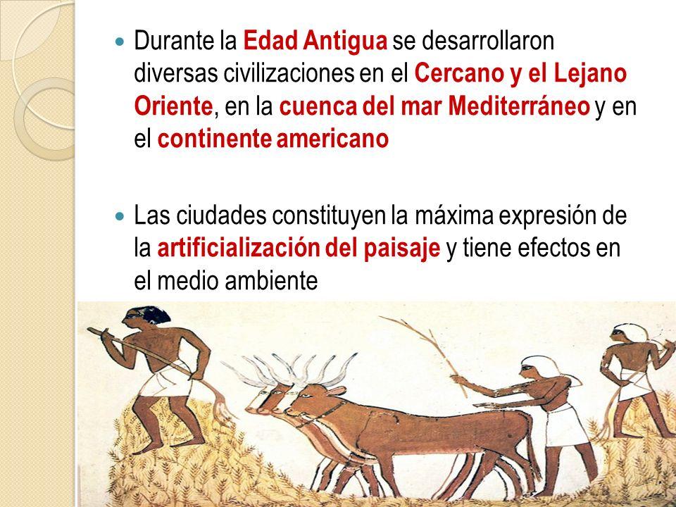 Durante la Edad Antigua se desarrollaron diversas civilizaciones en el Cercano y el Lejano Oriente, en la cuenca del mar Mediterráneo y en el continen