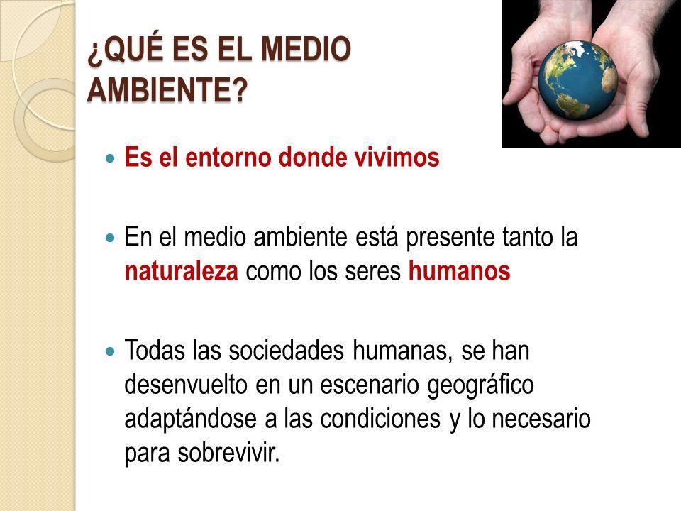 ¿QUÉ ES EL MEDIO AMBIENTE? Es el entorno donde vivimos En el medio ambiente está presente tanto la naturaleza como los seres humanos Todas las socieda