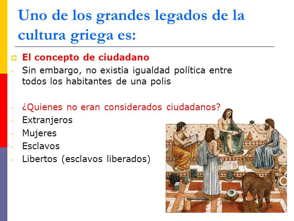 El concepto de ciudadano - Sin embargo, no existía igualdad política entre todos los habitantes de una polis - ¿Quienes no eran considerados ciudadanos.