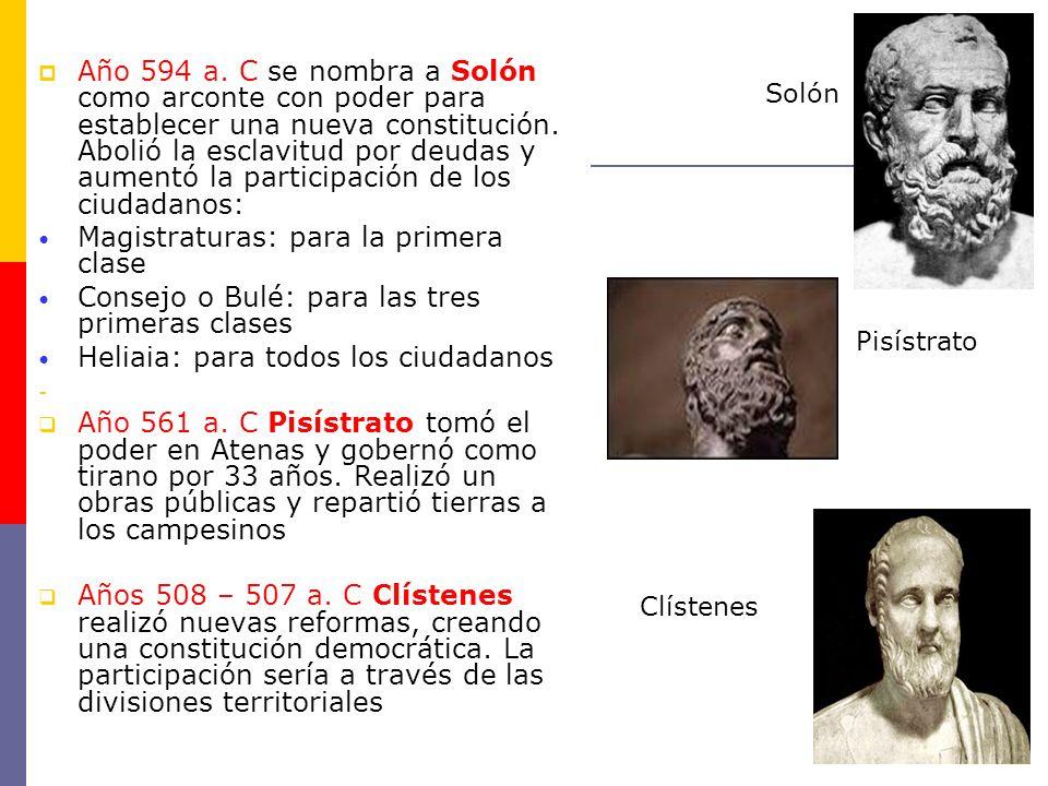 Año 594 a. C se nombra a Solón como arconte con poder para establecer una nueva constitución. Abolió la esclavitud por deudas y aumentó la participaci