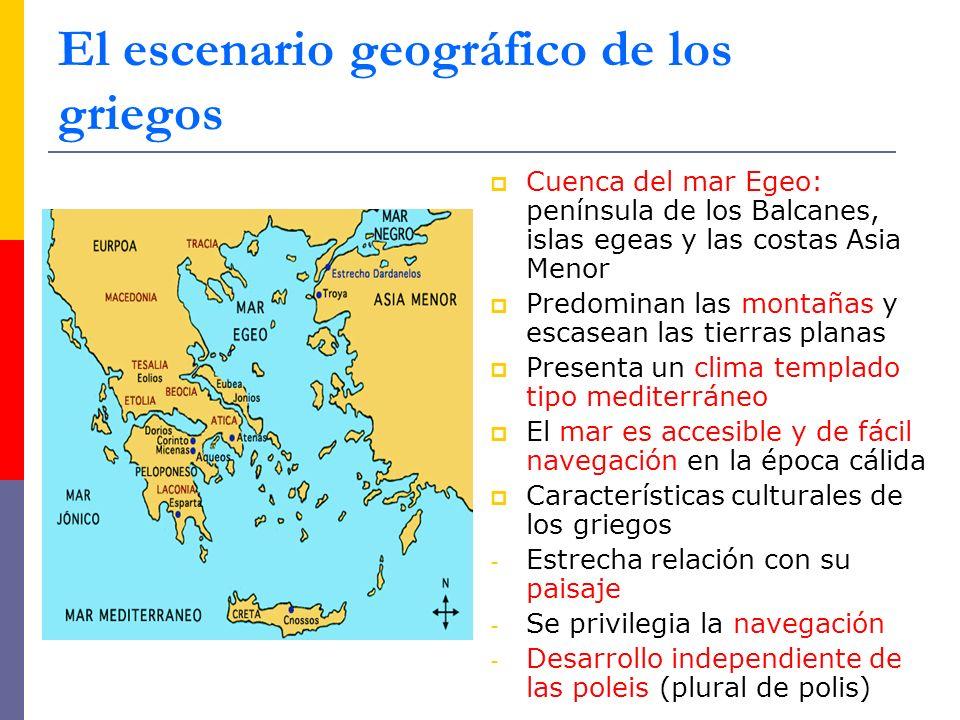 Cuenca del mar Egeo: península de los Balcanes, islas egeas y las costas Asia Menor Predominan las montañas y escasean las tierras planas Presenta un