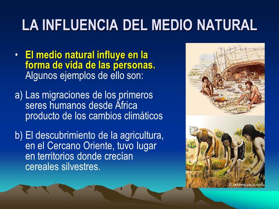 LA INFLUENCIA DEL MEDIO NATURAL El medio natural influye en la forma de vida de las personas. El medio natural influye en la forma de vida de las pers