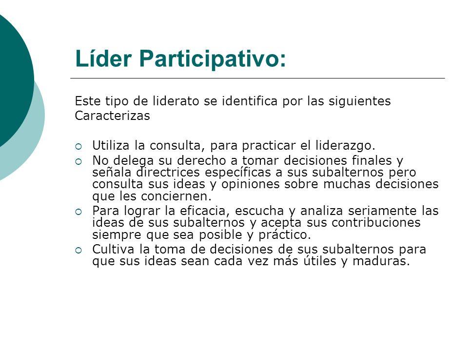 Líder Participativo: Este tipo de liderato se identifica por las siguientes Caracterizas Utiliza la consulta, para practicar el liderazgo. No delega s
