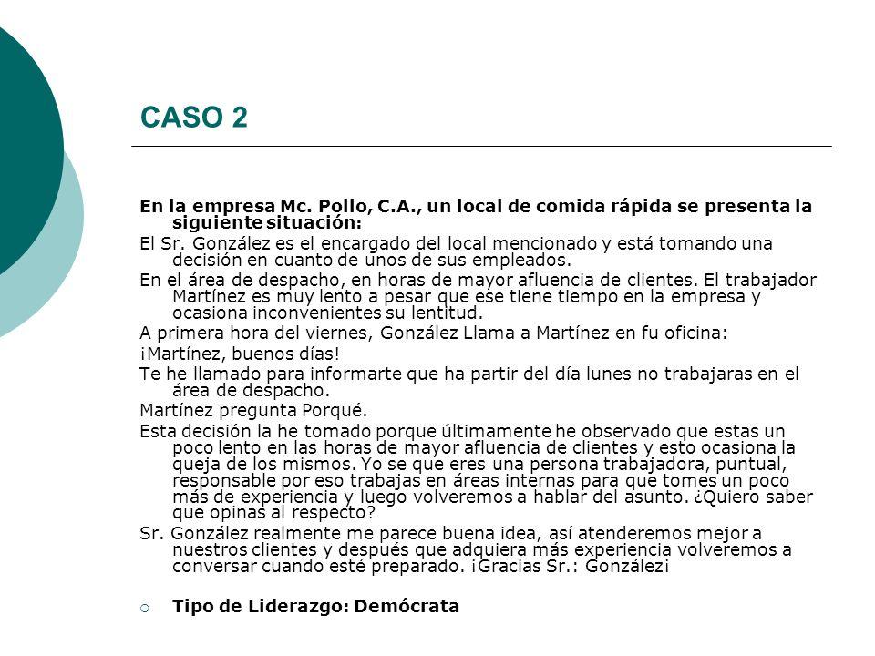 CASO 2 En la empresa Mc. Pollo, C.A., un local de comida rápida se presenta la siguiente situación: El Sr. González es el encargado del local menciona