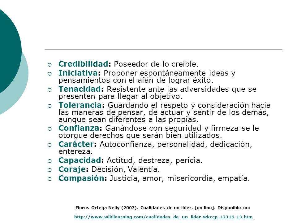 Credibilidad: Poseedor de lo creíble. Iniciativa: Proponer espontáneamente ideas y pensamientos con el afán de lograr éxito. Tenacidad: Resistente ant