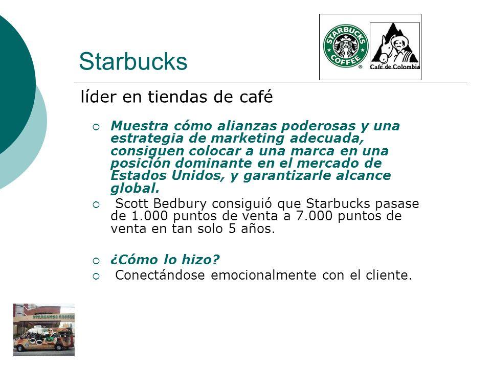 Starbucks Muestra cómo alianzas poderosas y una estrategia de marketing adecuada, consiguen colocar a una marca en una posición dominante en el mercad