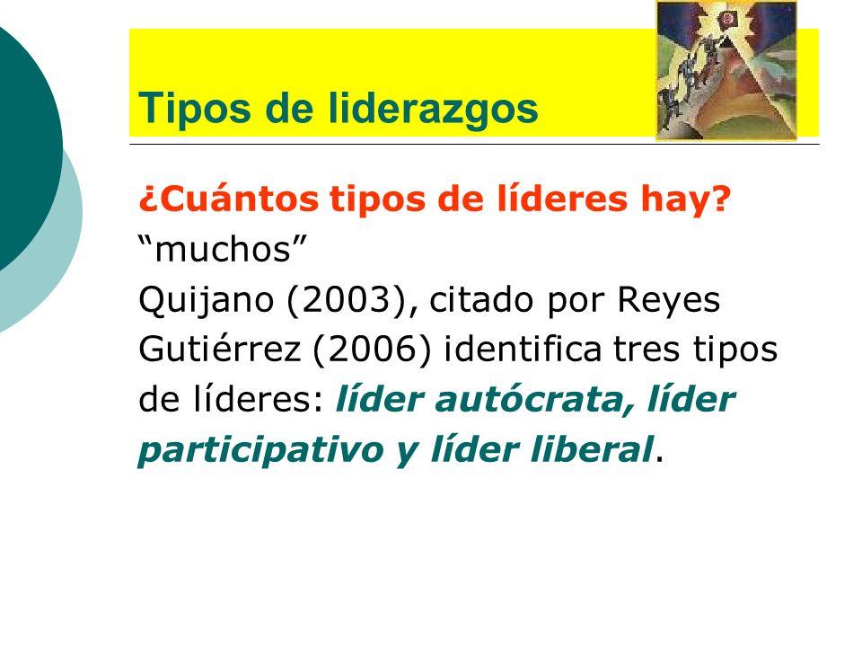 Tipos de liderazgos ¿Cuántos tipos de líderes hay? muchos Quijano (2003), citado por Reyes Gutiérrez (2006) identifica tres tipos de líderes: líder au