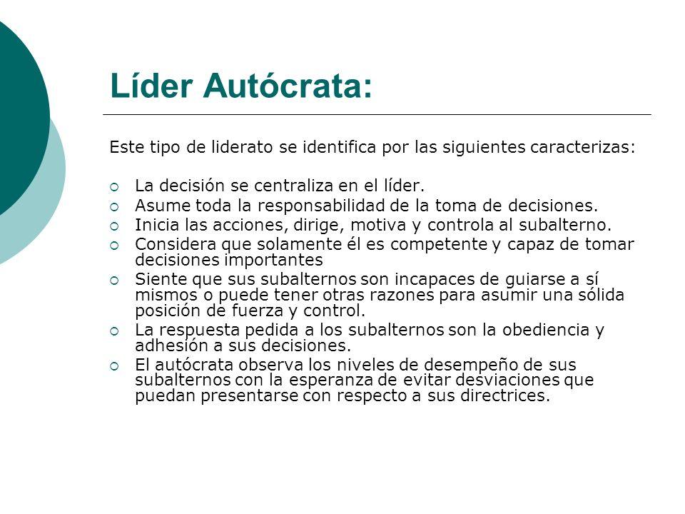Líder Autócrata: Este tipo de liderato se identifica por las siguientes caracterizas: La decisión se centraliza en el líder. Asume toda la responsabil