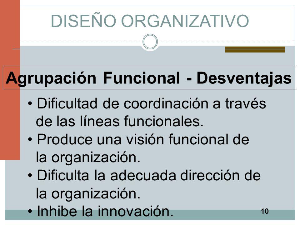 10 DISEÑO ORGANIZATIVO Agrupación Funcional - Desventajas Dificultad de coordinación a través de las líneas funcionales. Produce una visión funcional