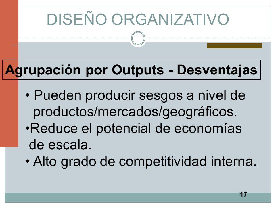 17 DISEÑO ORGANIZATIVO Agrupación por Outputs - Desventajas Pueden producir sesgos a nivel de productos/mercados/geográficos. Reduce el potencial de e