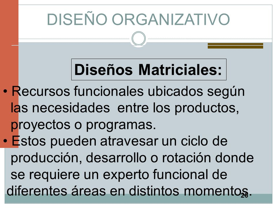 26 DISEÑO ORGANIZATIVO Diseños Matriciales: Recursos funcionales ubicados según las necesidades entre los productos, proyectos o programas. Estos pued