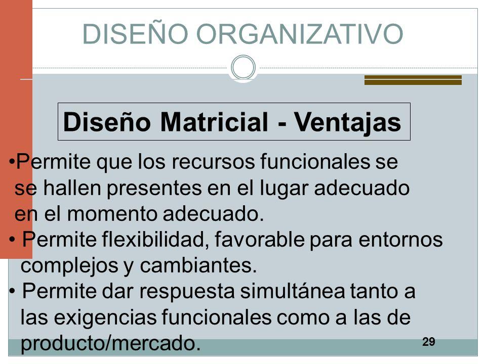 29 DISEÑO ORGANIZATIVO Diseño Matricial - Ventajas Permite que los recursos funcionales se se hallen presentes en el lugar adecuado en el momento adec