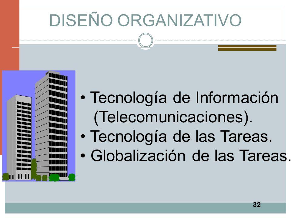 32 DISEÑO ORGANIZATIVO Tecnología de Información (Telecomunicaciones). Tecnología de las Tareas. Globalización de las Tareas.