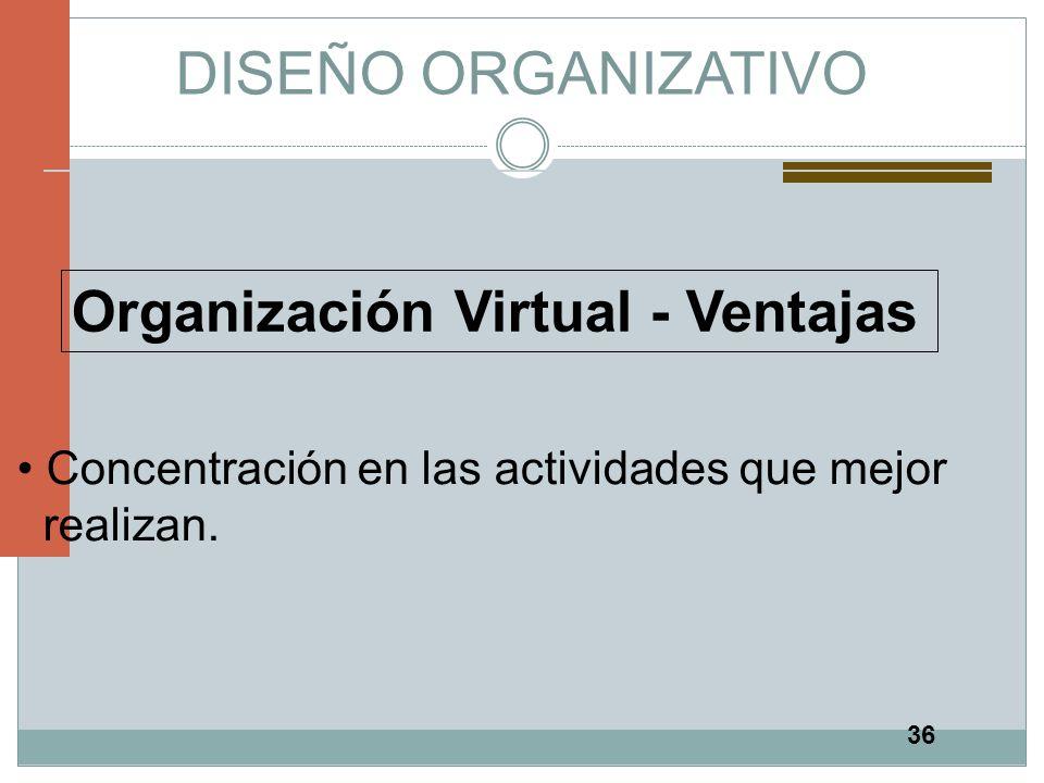 36 DISEÑO ORGANIZATIVO Organización Virtual - Ventajas Concentración en las actividades que mejor realizan.