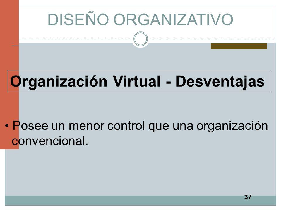 37 DISEÑO ORGANIZATIVO Organización Virtual - Desventajas Posee un menor control que una organización convencional.