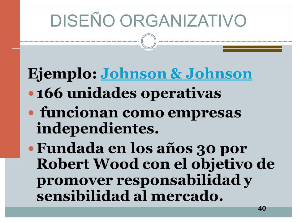 40 DISEÑO ORGANIZATIVO Ejemplo: Johnson & JohnsonJohnson & Johnson 166 unidades operativas funcionan como empresas independientes. Fundada en los años