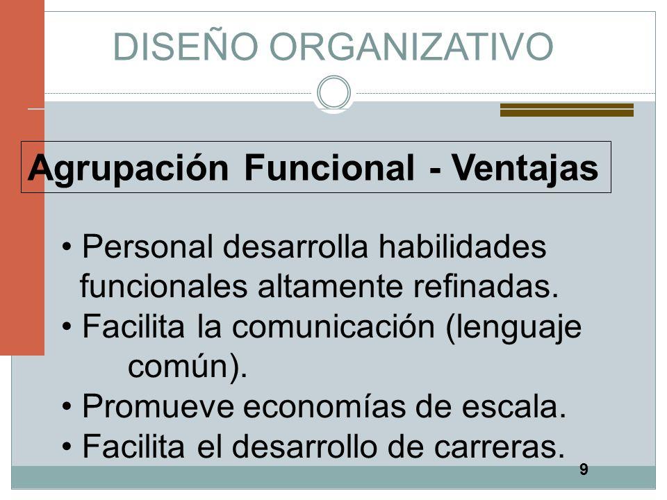 9 DISEÑO ORGANIZATIVO Agrupación Funcional - Ventajas Personal desarrolla habilidades funcionales altamente refinadas. Facilita la comunicación (lengu