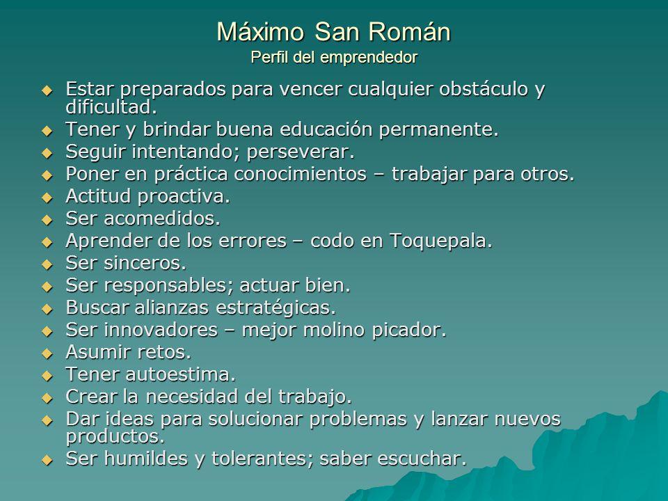 Máximo San Román Perfil del emprendedor Estar preparados para vencer cualquier obstáculo y dificultad. Estar preparados para vencer cualquier obstácul