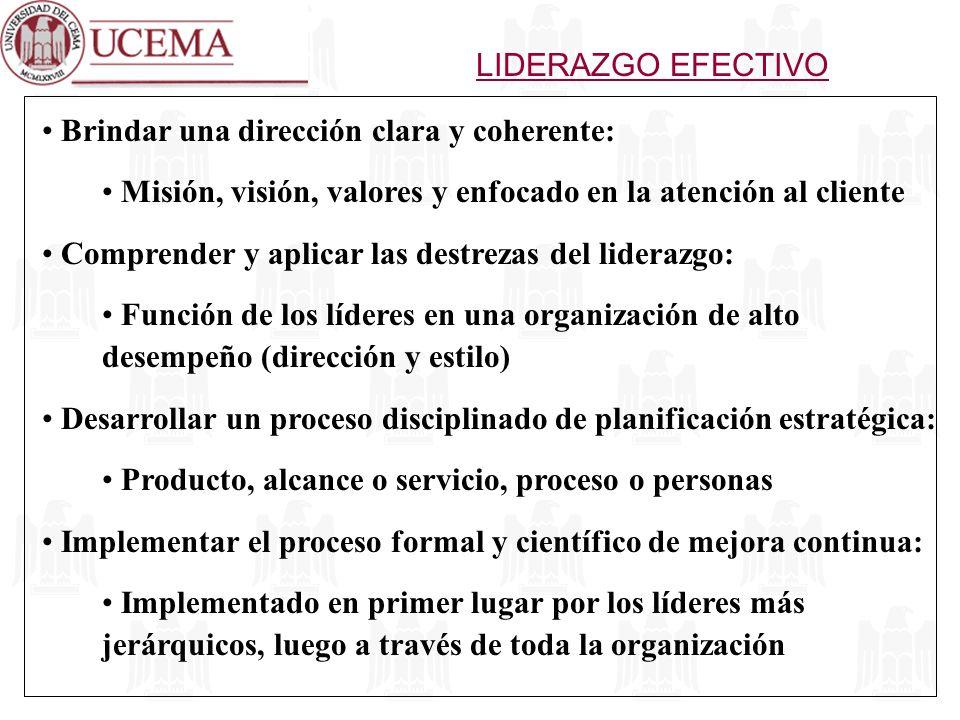 Brindar una dirección clara y coherente: Misión, visión, valores y enfocado en la atención al cliente Comprender y aplicar las destrezas del liderazgo