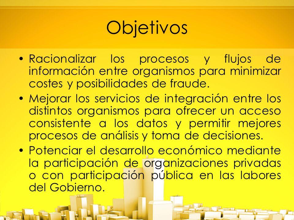 Objetivos Racionalizar los procesos y flujos de información entre organismos para minimizar costes y posibilidades de fraude.