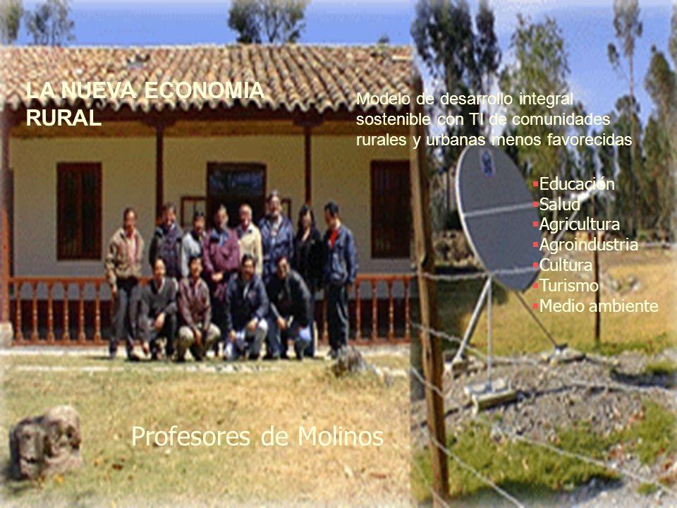 Educación Salud Agricultura Agroindustria Cultura Turismo Medio ambiente LA NUEVA ECONOMIA RURAL Modelo de desarrollo integral sostenible con TI de comunidades rurales y urbanas menos favorecidas Profesores de Molinos
