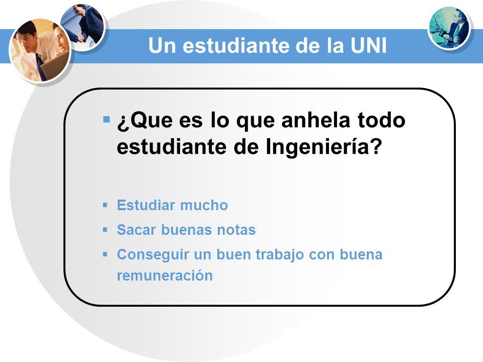 Un estudiante de la UNI ¿Que es lo que anhela todo estudiante de Ingeniería.