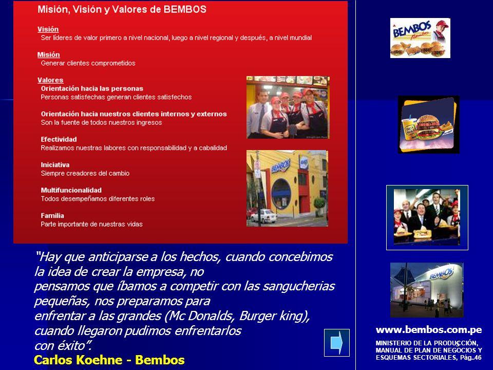 6 MINISTERIO DE LA PRODUCCIÓN, MANUAL DE PLAN DE NEGOCIOS Y ESQUEMAS SECTORIALES, Pág..46 Lanzó al mercado una hamburguesa llamada Premium, a la medida y gusto del peruano, con combinaciones al plato que no eran comunes en los fast food.