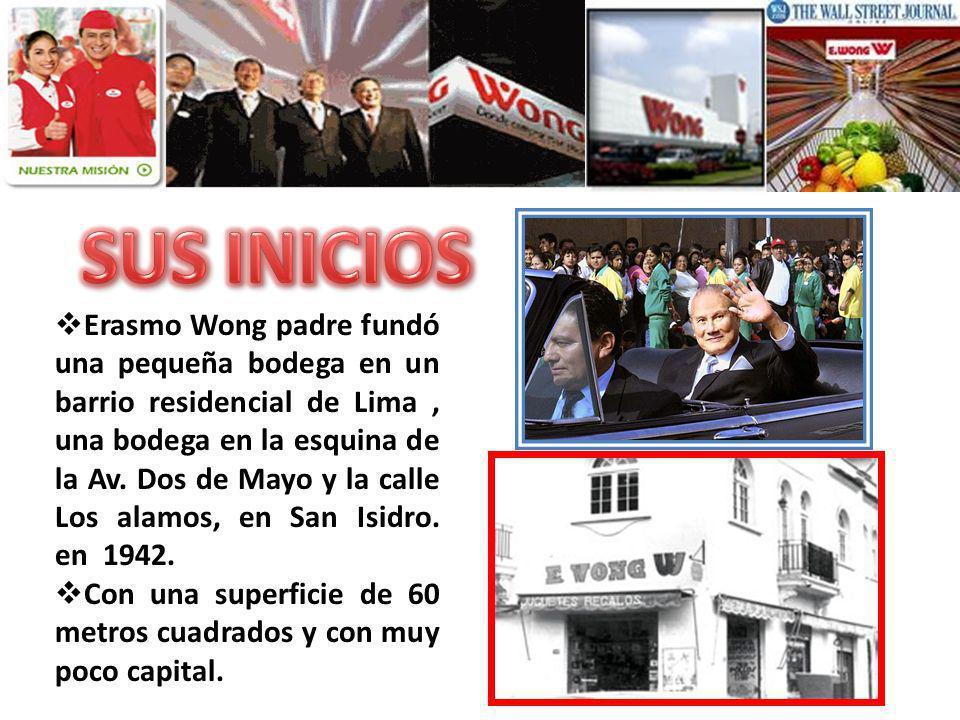 Erasmo Wong padre fundó una pequeña bodega en un barrio residencial de Lima, una bodega en la esquina de la Av. Dos de Mayo y la calle Los alamos, en