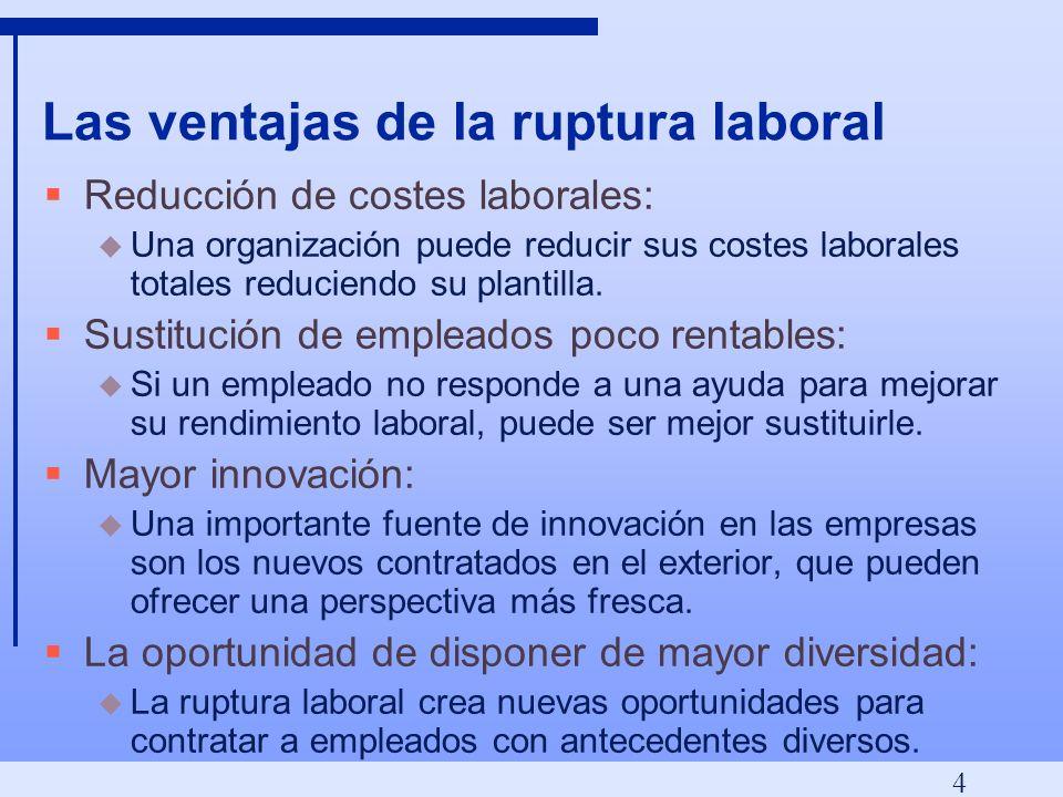 4 Las ventajas de la ruptura laboral Reducción de costes laborales: u Una organización puede reducir sus costes laborales totales reduciendo su plantilla.