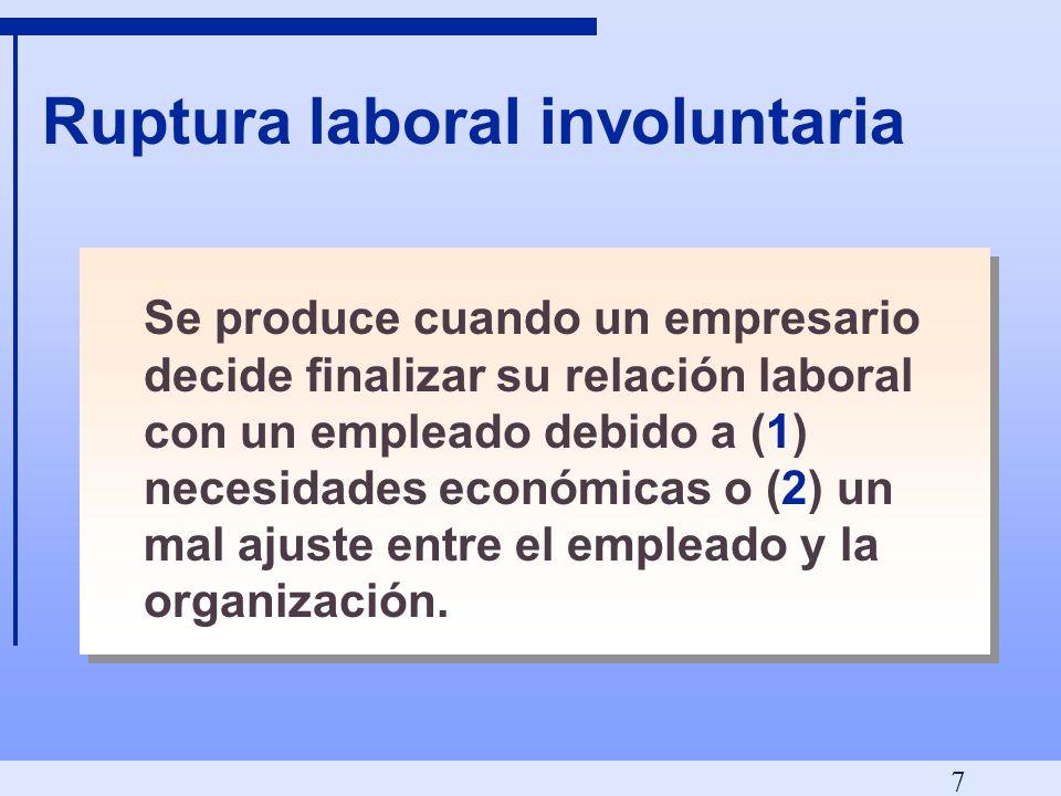 7 Ruptura laboral involuntaria Se produce cuando un empresario decide finalizar su relación laboral con un empleado debido a (1) necesidades económicas o (2) un mal ajuste entre el empleado y la organización.
