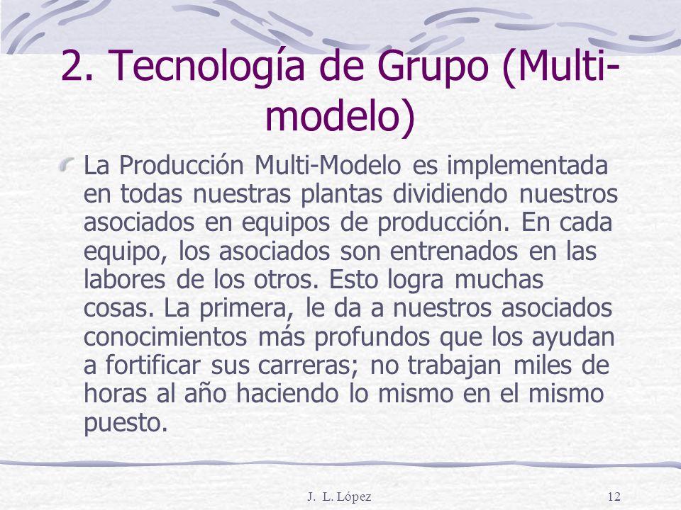 J. L. López11 2. Las cuatro reglas del sistema de producción de Toyota 1. Todo trabajo estará sumamente especificado respecto al contenido, secuencia,