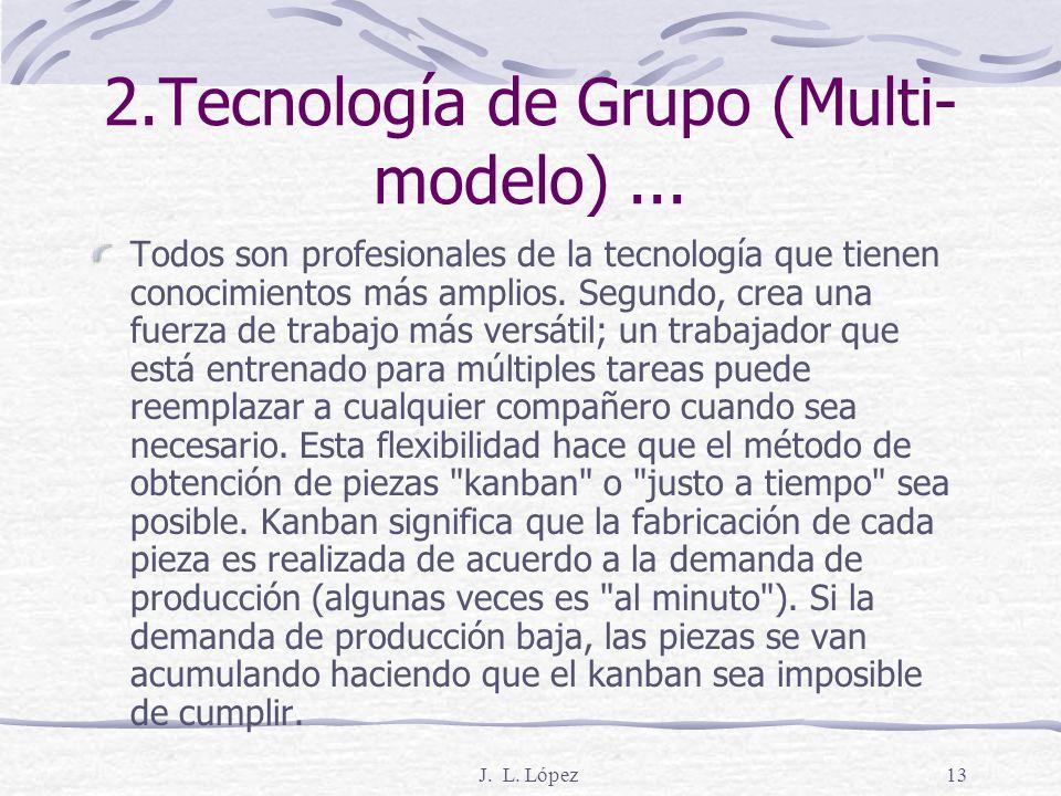 J. L. López12 2. Tecnología de Grupo (Multi- modelo) La Producción Multi-Modelo es implementada en todas nuestras plantas dividiendo nuestros asociado